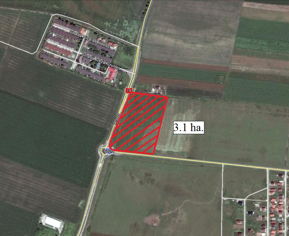 Vand teren intravilan la intersectia DN Arad-Oradea cu DN spre Livada